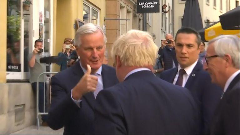 Michel Barnier, Boris Johnson and Jean-Claude Juncker
