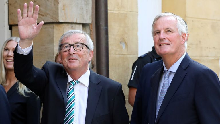 European Union's chief Brexit negotiator Michel Barnier and European Commission President Jean-Claude Juncker arrive at a restaurant prior to a meeting with Boris Johnson in Luxembourg