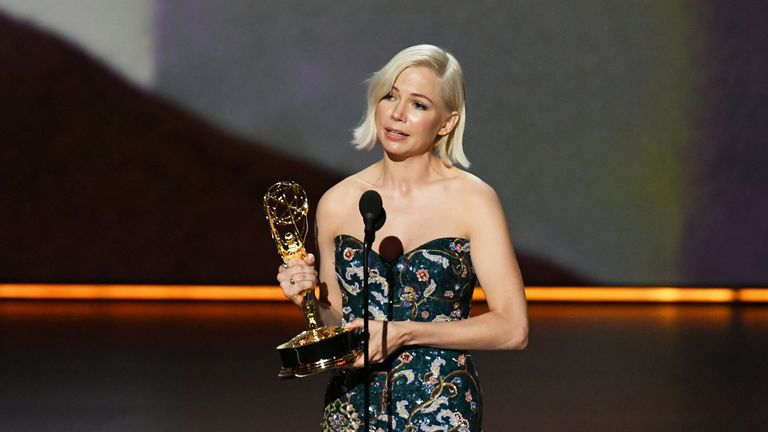 Michelle Williams on stage at the Emmy Awards