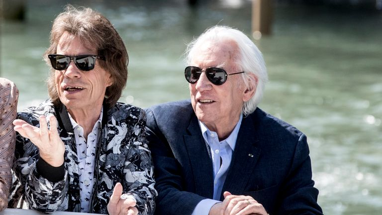 Mick Jagger and Donald Sutherland are seen arriving at the 76th Venice Film Festival on September 07, 2019 in Venice, Italy