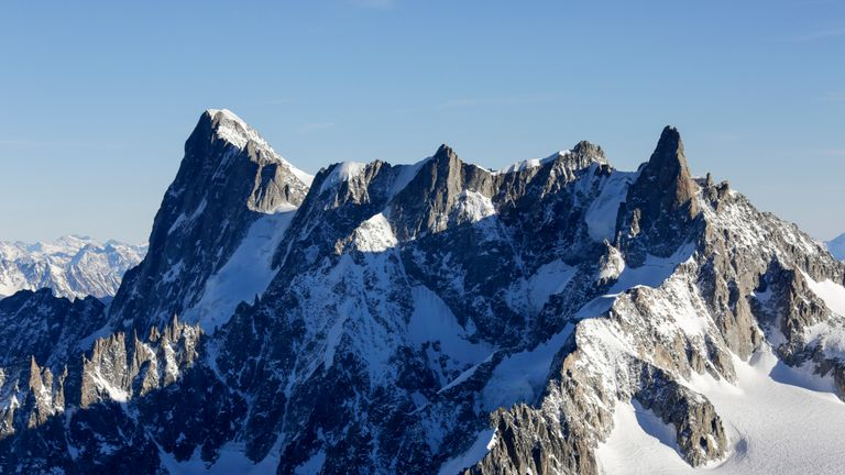A glacier could potentially collapse on the Grand Jorasses mountain