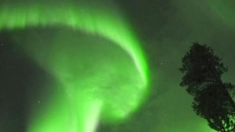 Aurora borealis manifests itself above Finland