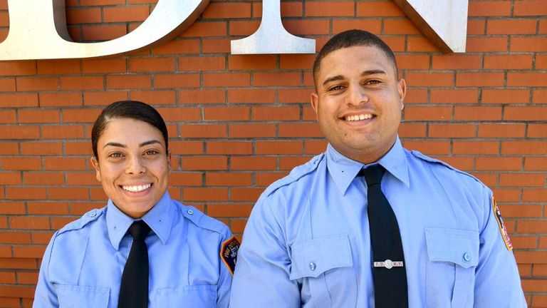 Rebecca and Marc Asaro join two other siblings in the fire service. Pic: NYFD