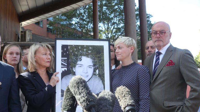 Owen Carey's family (left to right) mother Moira, sister Emma Kocher and father Paul Carey said restaurants need to display clear allergen labelling