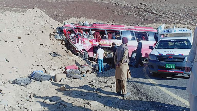 At least 22 killed after bus rams into hill following brake failure
