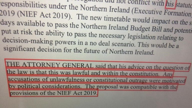 The unredacted paragraph which outlines Geoffrey Cox's advice