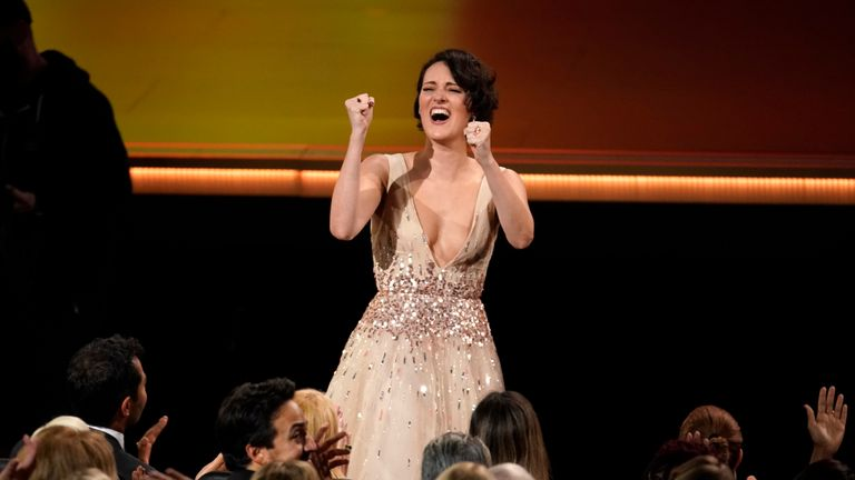 "71st Primetime Emmy Awards - Show - Los Angeles, California, U.S., September 22, 2019. Phoebe Waller-Bridge celebrates after winning for Outstanding Writing for a Comedy Series for ""Fleabag."" REUTERS/Mike Blake"