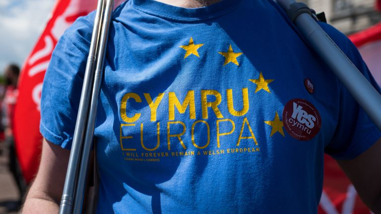 A close-up of a pro-Europe shirt as thousands take part in the first ever march for Welsh independence in May