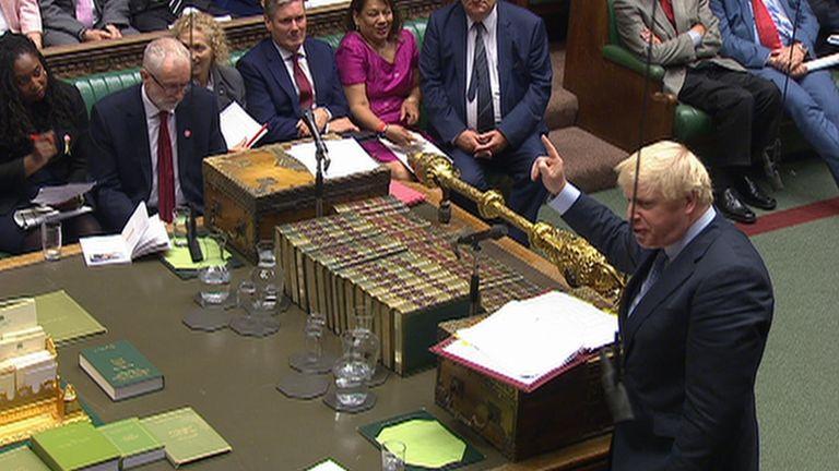 Boris Johnson points at Jeremy Corbyn