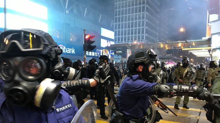 Riot police fired tear gas, rubber bullets and pepper spray at protesters