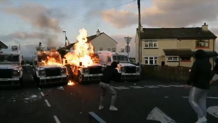 Police were attacked as they targeted dissident republicans Pic: @DerryFootage