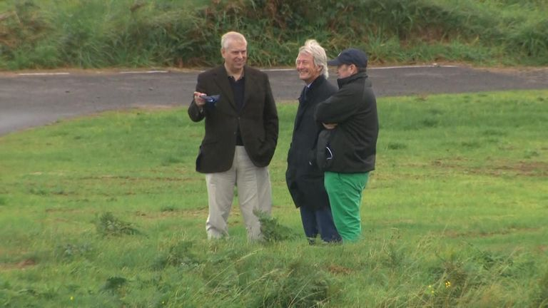 Prince Andrew was pictured with Paul Tweed at Royal Portrush in Northern Ireland