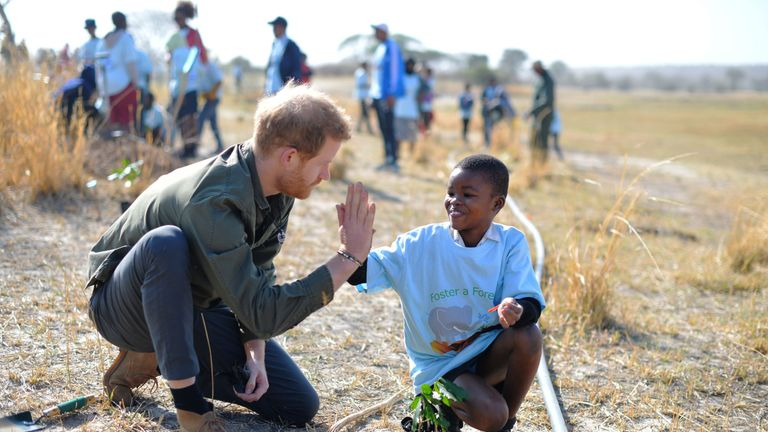 Prince Harry is in Botswana on the fourth day of the Sussexes' tour of Africa