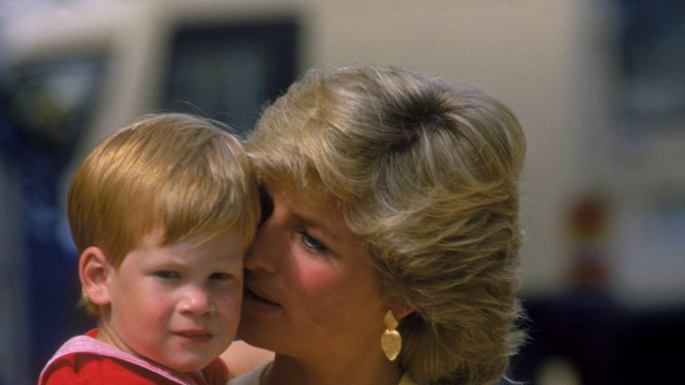 Prince Harry with his mother Diana in 1987
