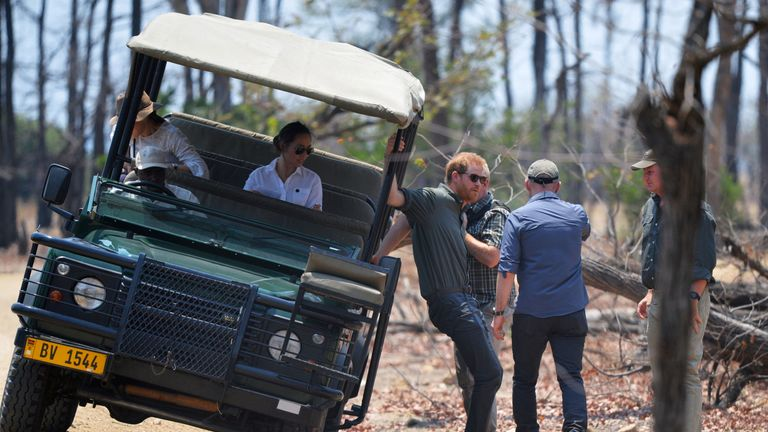 Prince Harry arriving for the memorial service in Liwonde National Park