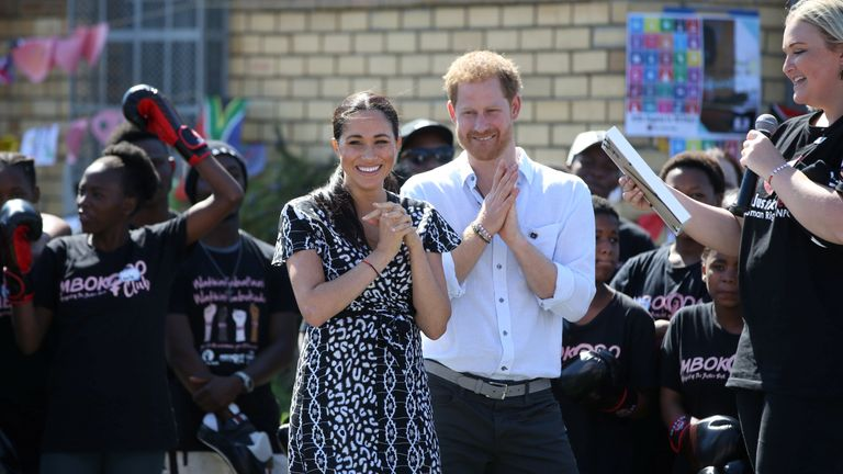 The Duke and Duchess of Sussex attend a Justice Desk initiative in Nyanga township, on the first day of their African tour in Cape Town