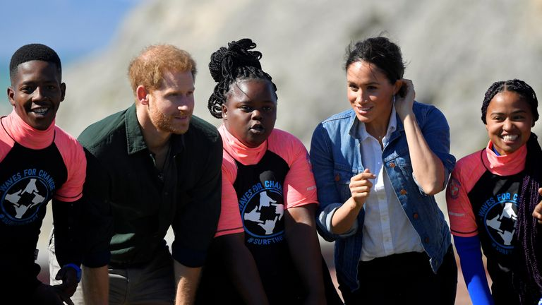 The Duke and Duchess of Sussex meet with members of the NGO Waves for Change