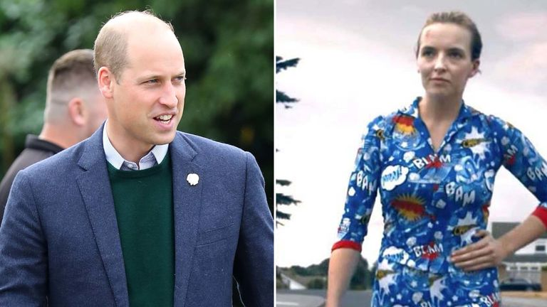 Prince William, left, was given a pair of blue pyjamas made for the BBC show Killing Eve. Pic: Getty/BBC