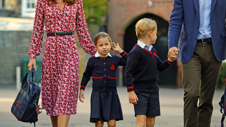 Princess Charlotte arrives for her first day at school