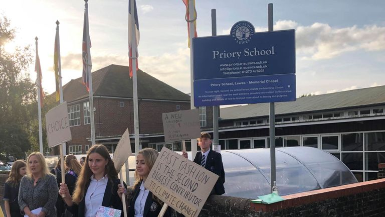 "PLEASE NOTE: FACE OF BOY IN BACKGROUND PIXELATED BY PA PICTURE DESK Handout photo of pupils protesting outside Priory School in Lewes, East Sussex against a new ""gender neutral"" uniform. PA Photo. Issue date: Friday September 6, 2019. Dozens of pupils and parents gathered outside the school to demonstrate against the rules, which include a ban on girls wearing skirts. See PA story EDUCATION Lewes. Photo credit should read: Dave Flower/PA Wire NOTE TO EDITORS: This handout photo may only be used"