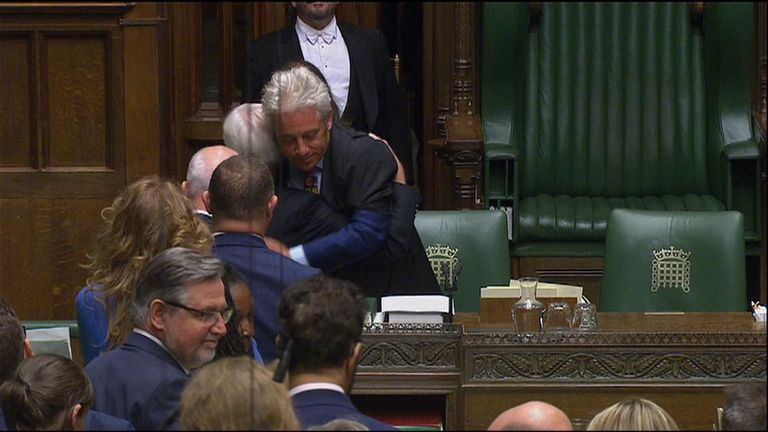 Jeremy Corbyn shakes hands with John Bercow, John McDonnell gets a hug from the speaker as Labour MPs line up
