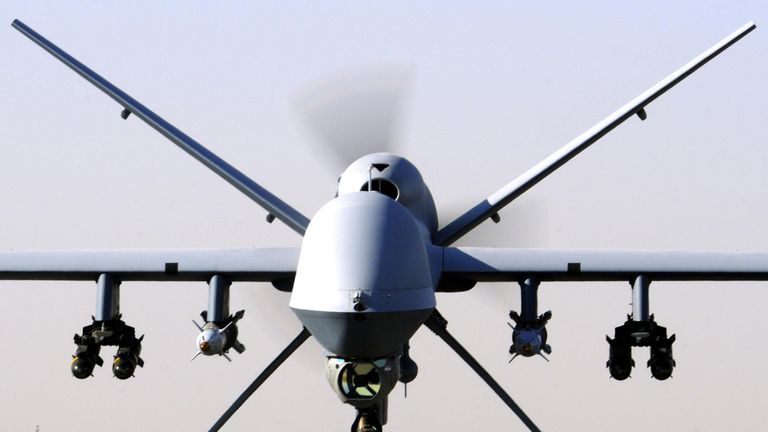 Undated MoD handout photo of an RAF Reaper UAV as extra money should be spent on the SAS and drones to combat the threat of Islamic State (IS) terrorists, David Cameron has told defence chiefs
