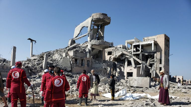 Red Crescent medics at the site of Saudi-led air strikes