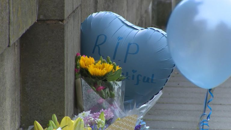 Tributes have been left at the River Irwell where the baby's body was pulled from