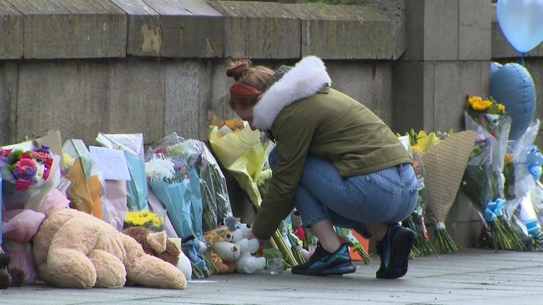 Tributes have been left at the River Irwell where the baby's body was found
