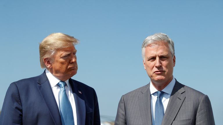 Robert O'Brien appeared alongside the president at LA airport