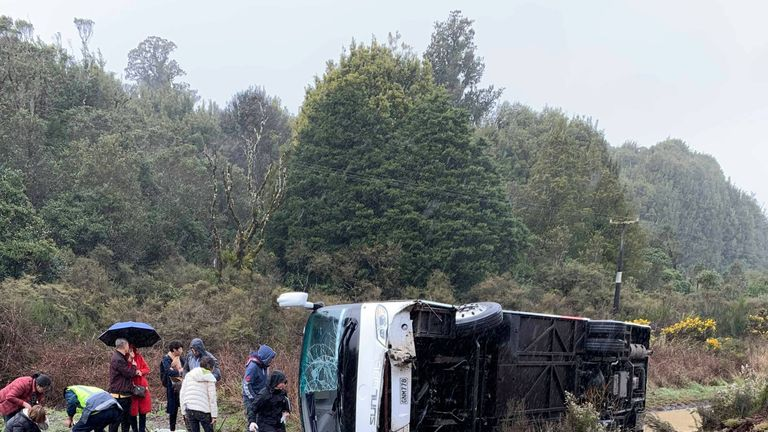 A bus carrying tourists flipped to the opposite side of the road near Rotorua. Pic: BISHAL JUNG BASNET/Social