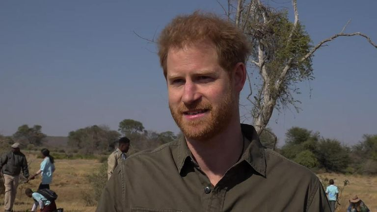Prince Harry talks about how coming to Botswana helped him after the death of his mother and how denying climate change is unjustifiable