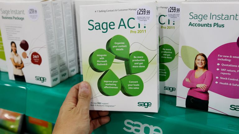 (FTSE 100 STOCK) An example of software from The Sage Group plc, a leading supplier of business software and services to 6.3 million customers worldwide..Picture date:Tuesday 17 May, 2011. See PA Story FTSE 100 Photo credit should read: Gareth Fuller/PA Wire