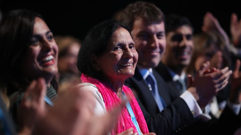 Chancellor of the Exchequer Sajid Javid's mother in the audience for her son's speech at the Conservative Party Conference at the Manchester Convention Centre.