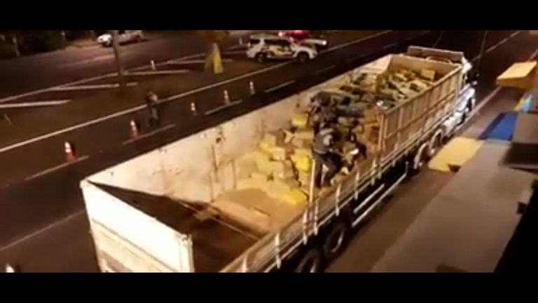 Sao Paulo's military police seized more than 12 tons of marijuana after investigating a truck shipment during a routine traffic stop in the city.