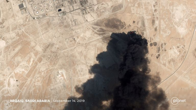 Smoke billows from the oil facility in Abqaiq