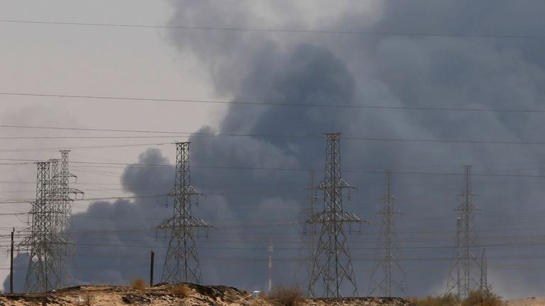 Smoke is seen following a fire at an Aramco factory in Abqaiq, Saudi Arabia, September 14, 2019