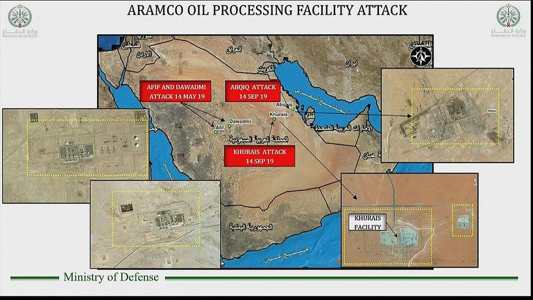 Slides from Saudi Arabia's powerpoint presentation on attacks it says were arranged by Iran