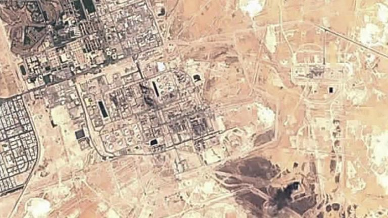 Satellite image shows damage to the oil refinery. Pic: European Commission