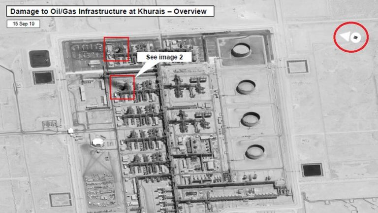 Satellite imagery showing Khurais plant and damage area in upper red square