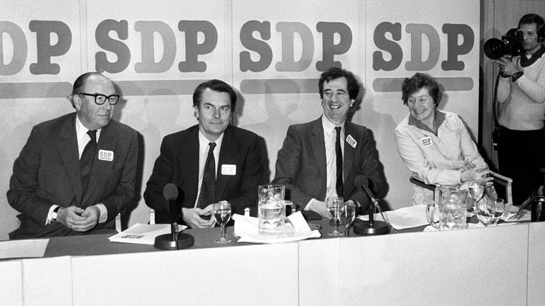 (Left to right) Roy Jenkins, David Owen, Bill Rodgers and Shirley Williams