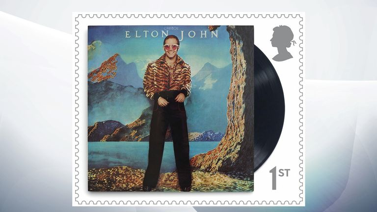 Some of Sir Elton's most famous albums, including Caribou in 1974, feature on the stamps