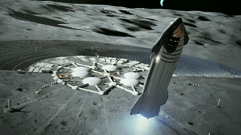 Mr Musk said he wanted to build a city on the moon, giving this image as a prototype