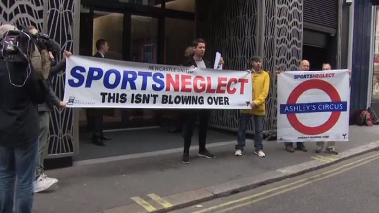 Newcastle United fans staged a protest over his ownership of the club outside the AGM