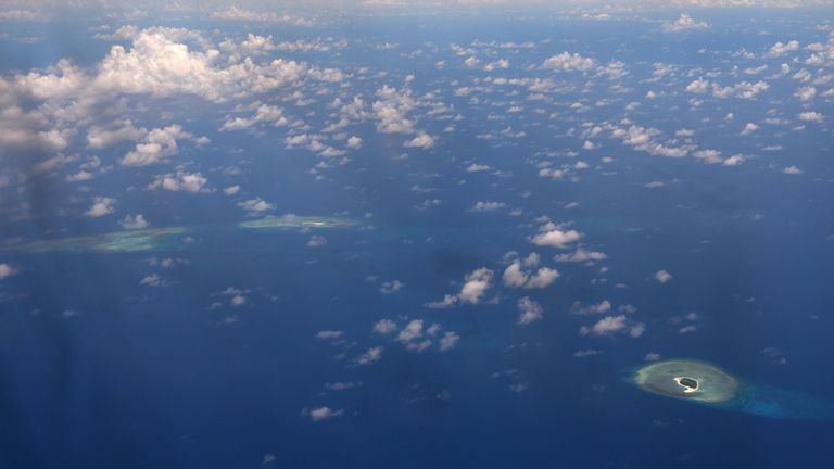 An aerial view of the disputed Spratly islands in the South China Sea