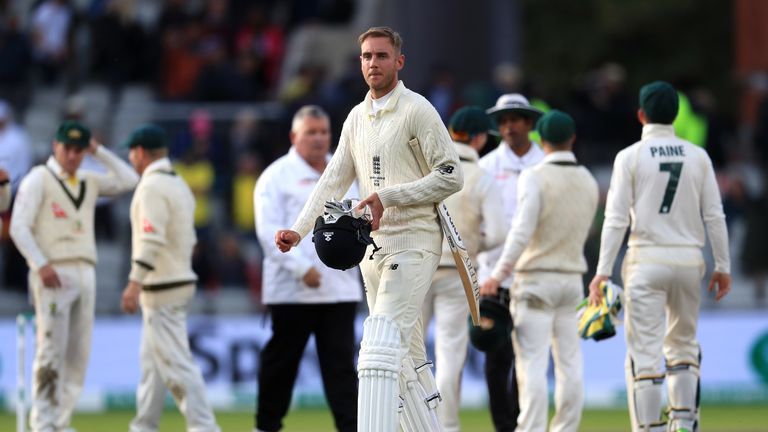 England's Stuart Broad leaves the field during day five of the fourth Ashes Test at Emirates Old Trafford