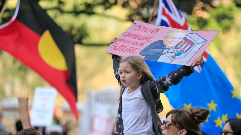SYDNEY, AUSTRALIA - SEPTEMBER 20: Thousands of school students join protesters in a Climate strike rally on September 20, 2019 in Sydney, Australia. Rallies held across Australia are part of a global mass day of action demanding action on the climate crisis. (Photo by Mark Evans/Getty Images)