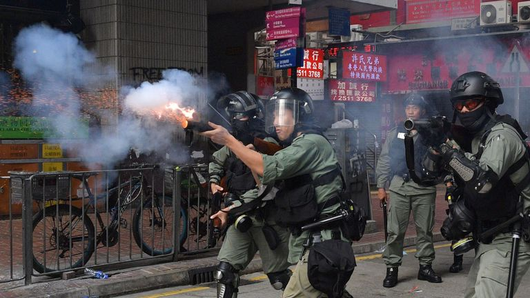 Police fire tear gas in Hong Kong