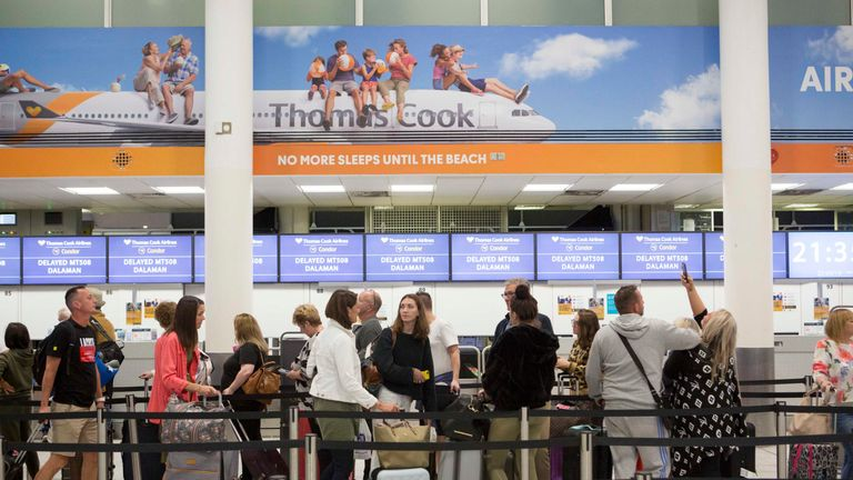 A general view of the Thomas Cook check-in desks in the South Terminal of Gatwick Airport
