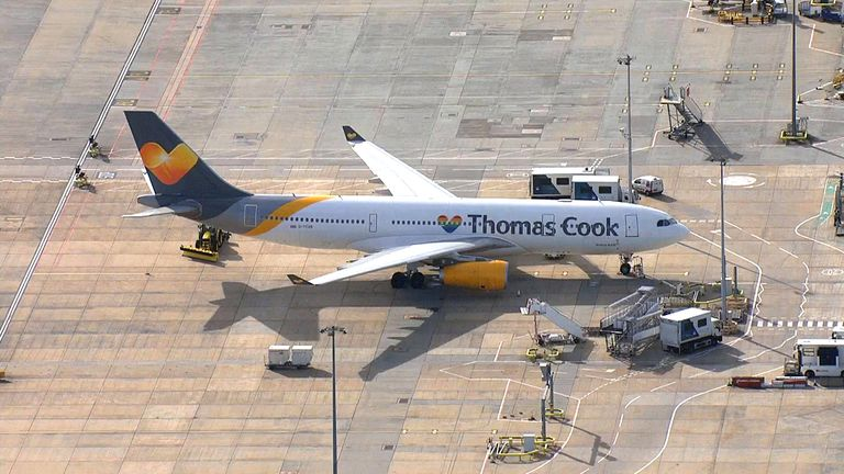 Thomas Cook plane at Gatwick airport